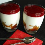 Yoghurt panna cotta met fruit en frambozencoulis
