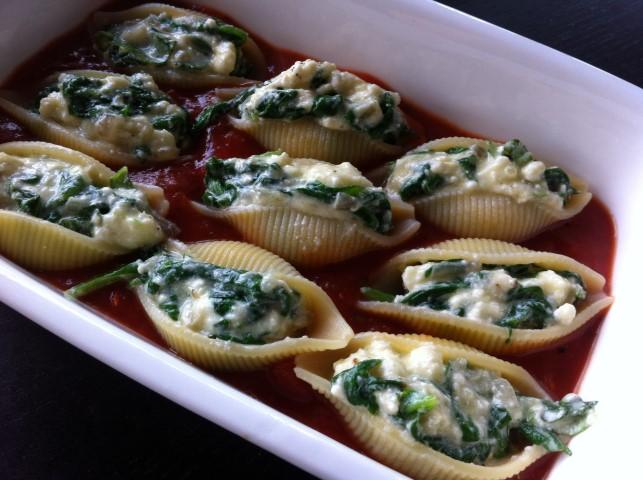 Gevulde pasta met spinazie