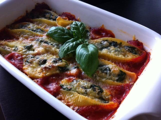 Pasta met spinazie en ricotta