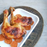 Kip in mango-srirachasaus en zoete aardappel uit de oven