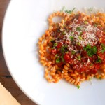 Stoofvlees van wild zwijn met pasta