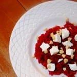 Bieten risotto met geitenkaas en hazelnoten