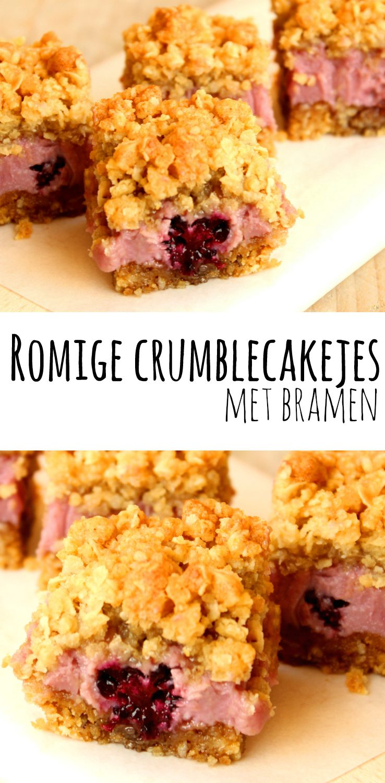 Romige crumblecakejes met bramen - Zo lekker heb je nog nooit getrakteerd! :D