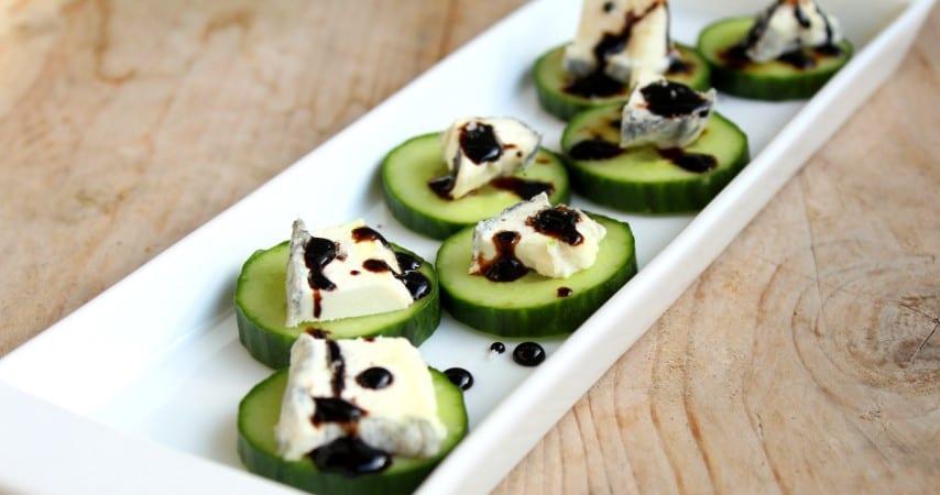 Hapje van komkommer met geitenkaas (glutenvrij!)