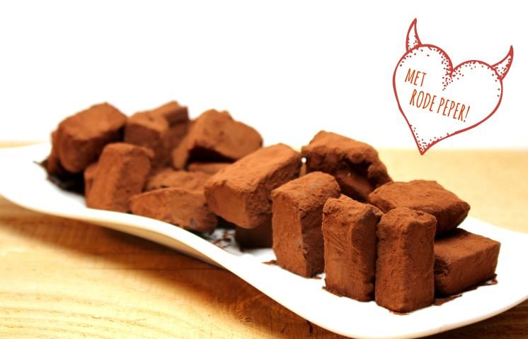 Chocolade rode peper truffels