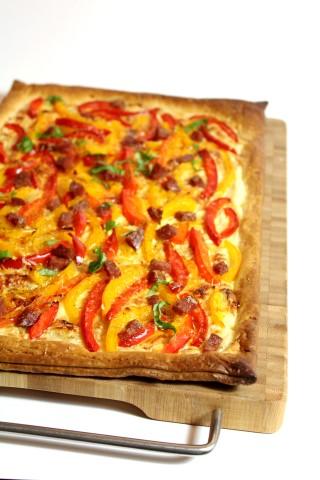 Paprika plaattaart met chorizo