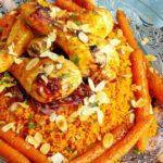 Couscous met harissa kip van de bbq, gekarameliseerde ui en worteltjes uit de oven