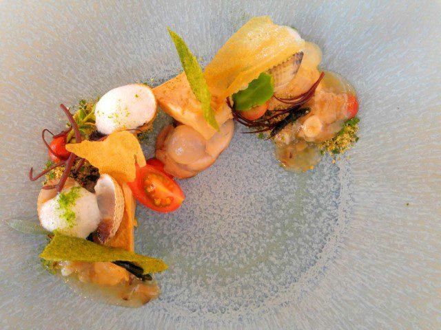 Eendenlever, oester, tomaat, Black Tomato Gin, algen en plantjes uit de Oosterschelde