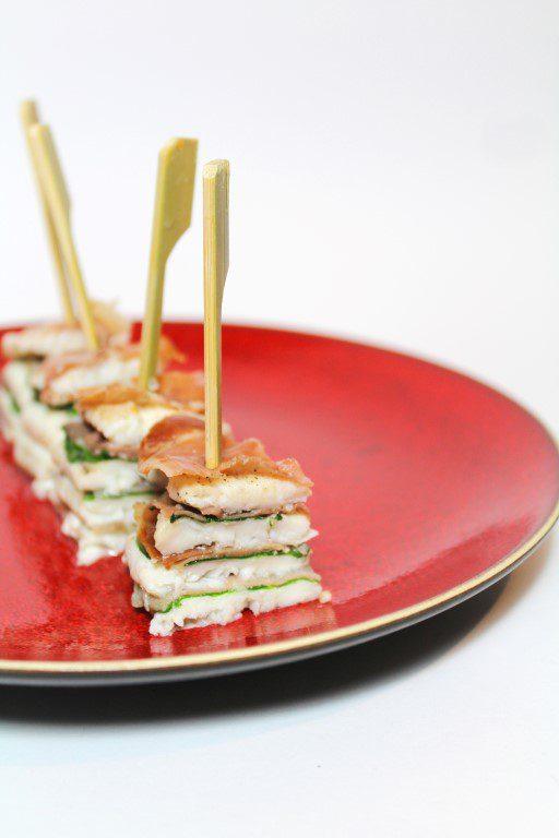 Tongfilet hapje met spinazie en ham