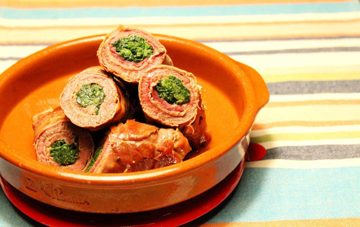 Kalfsrolletjes met ham en spinazie