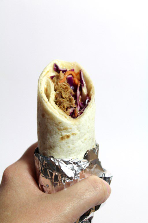 Wrap met pulled pork en rode coleslaw