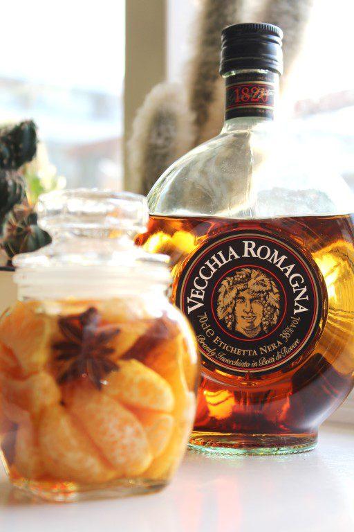 In Vecchia Romagna brandy ingemaakte mandarijnen
