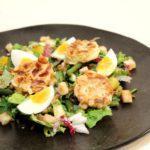 Salade geitenkaas met amandelkorstje