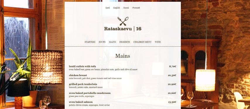 Restaurant Rataskaevu 16 - Tallinn Estland