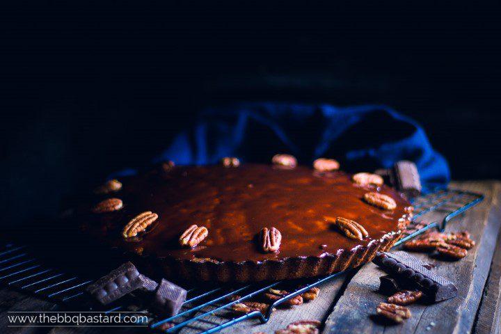 Smoked chocolate pecan mud cake