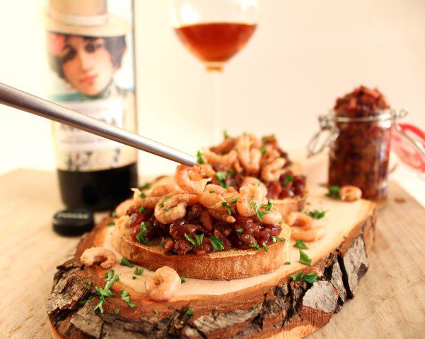 Sherrypairing: Amontillado met crostini, baconjam en Hollandse garnalen