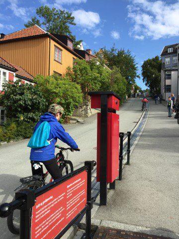 Trondheim - perfect voor een culi stedentrip = Trampe fietslift