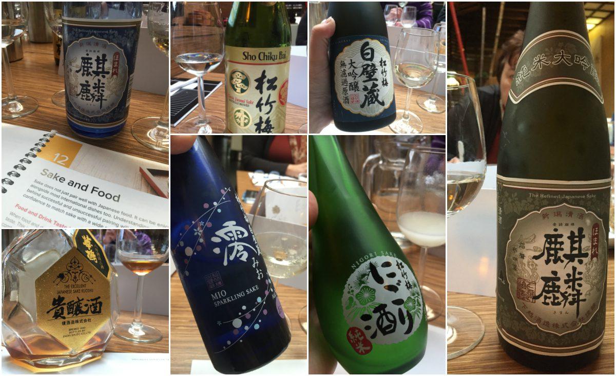 Geproefde sake tijdens WSET Sake Level 1 cursus