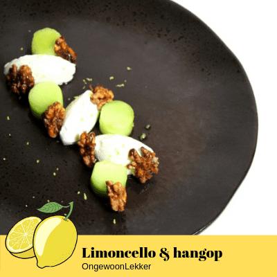 Limoncello met hangop en walnoten