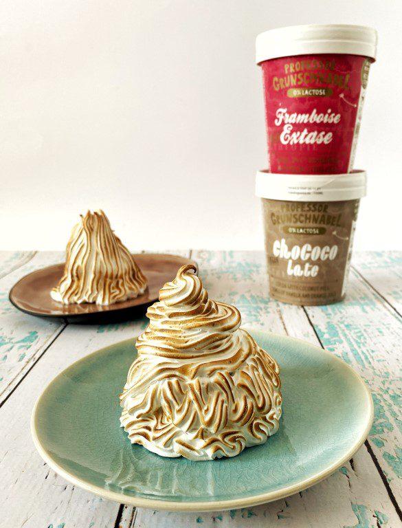 Mini Baked Alaska met vegan chocolade ijs van Professor Grunschnabel