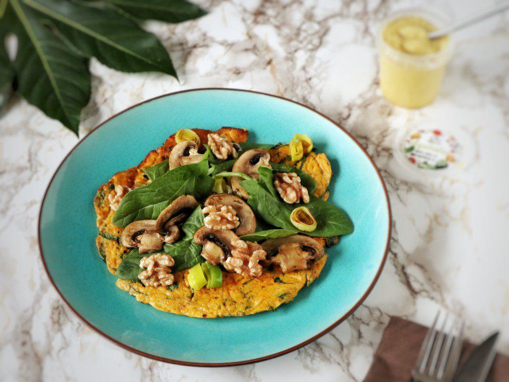 Zoete aardappel-omelet met spinazie légumaise - Ekomenu