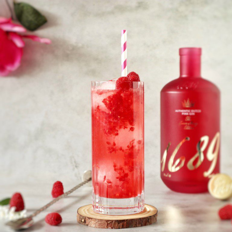 zomerse cocktails met gin - Pink Gin 1689