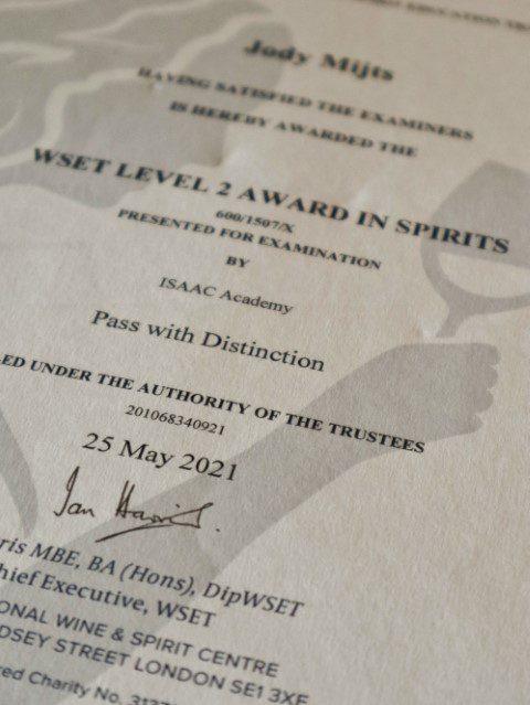 WSET Level 2 Award in Spirits doen bij de Isaac Academy